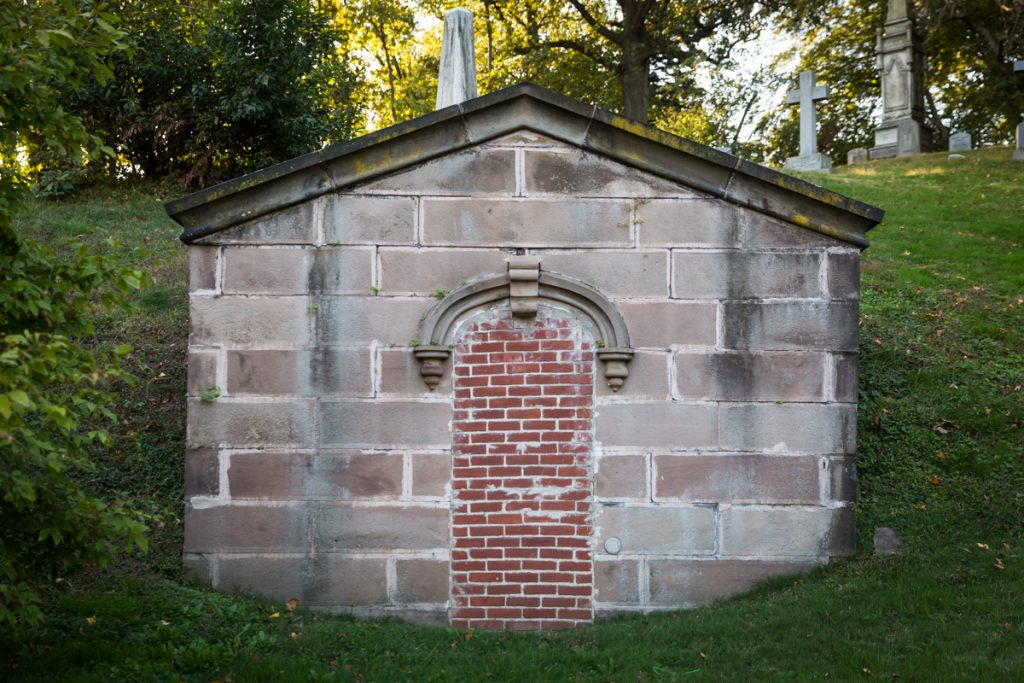 Mausoleum with bricked up doorway at Green-Wood Cemetery