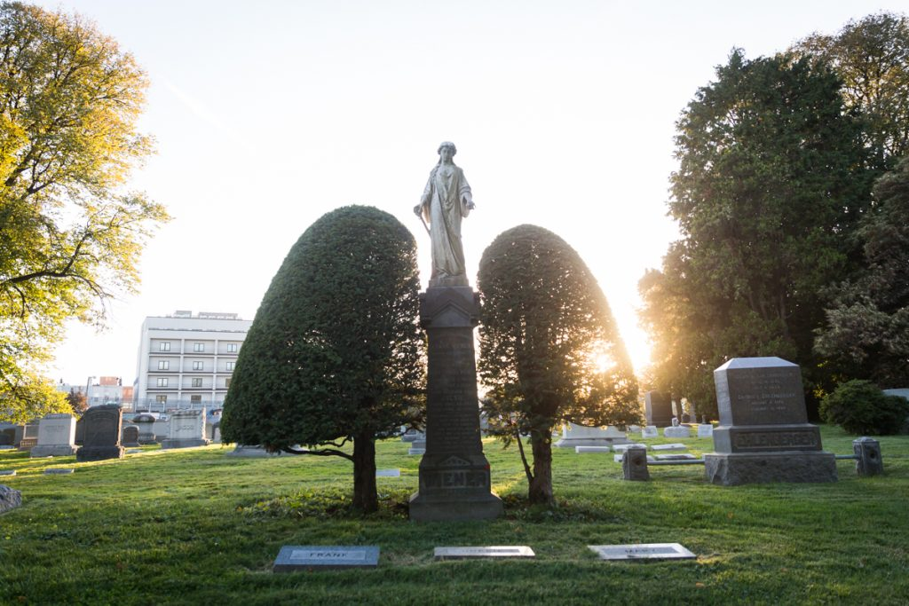 Grave statue atop two gian bushes at Green-Wood Cemetery