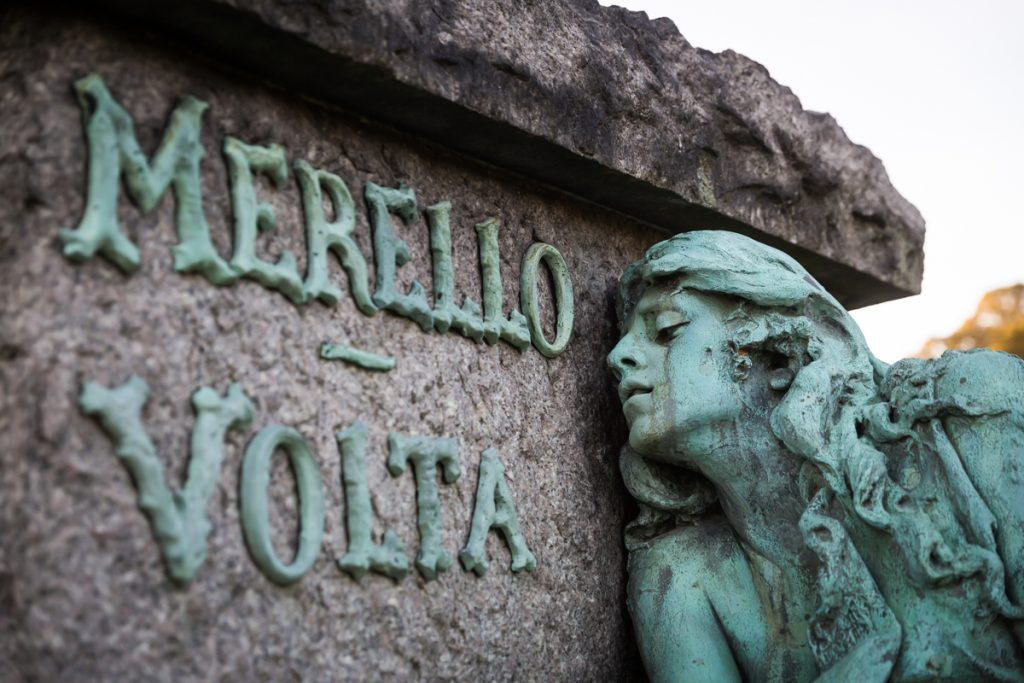 Close up of bronze monument to Rose Merella Guarino