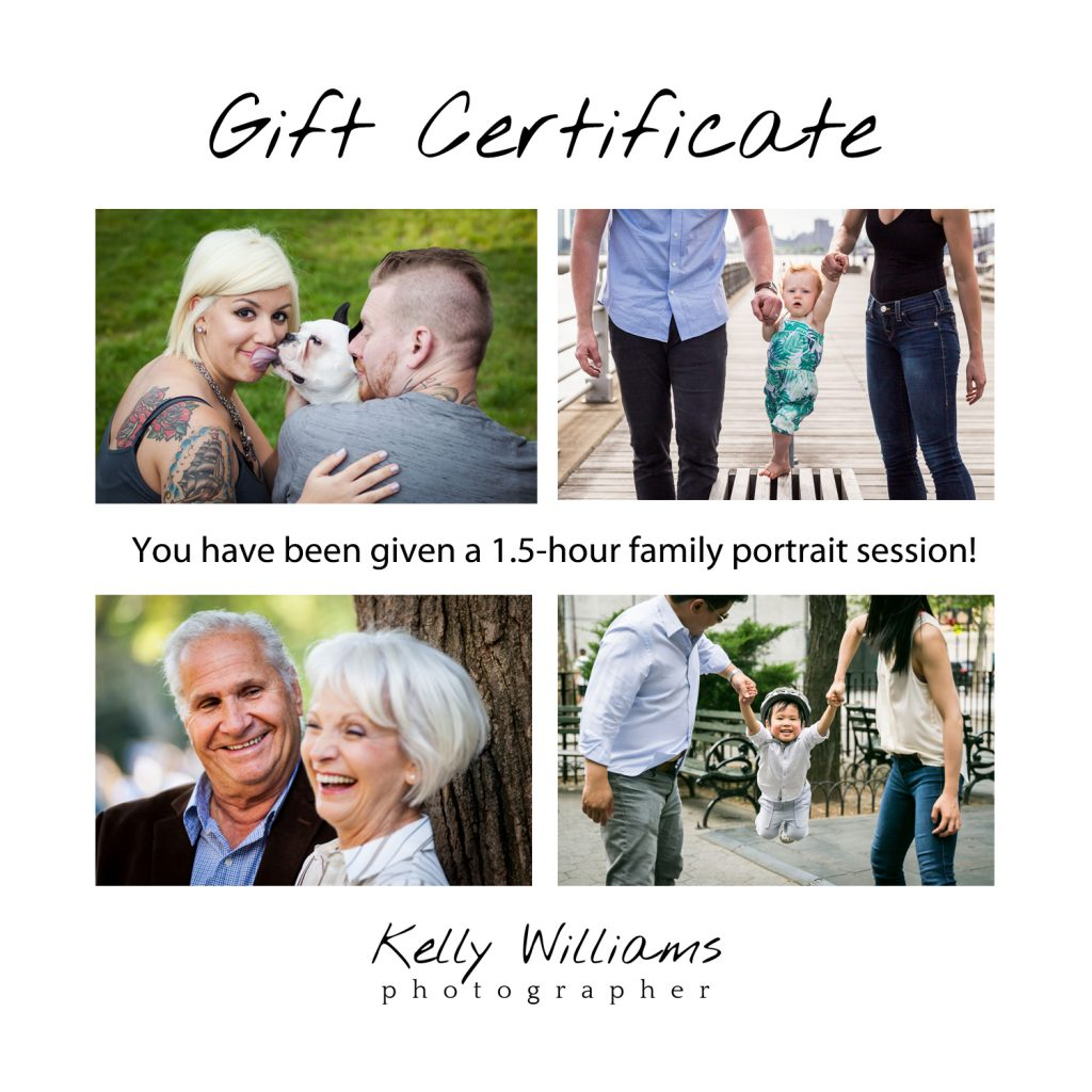 Family portrait gift certificate front page