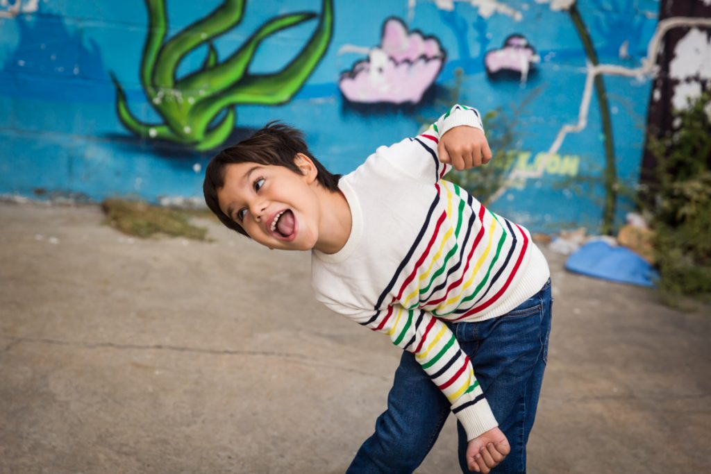 Little boy making funny face during a Gowanus family portrait session