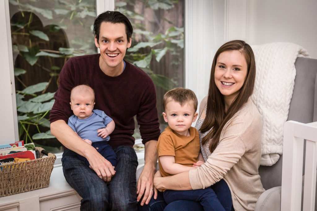 Family of four for an article on how to prepare for a newborn portrait session