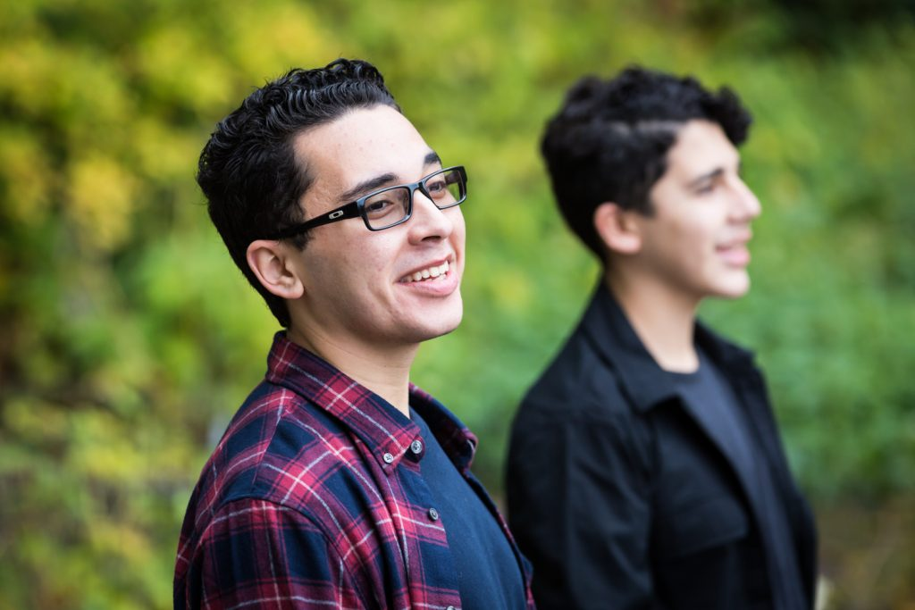 Two young men during a Central Park senior portrait session