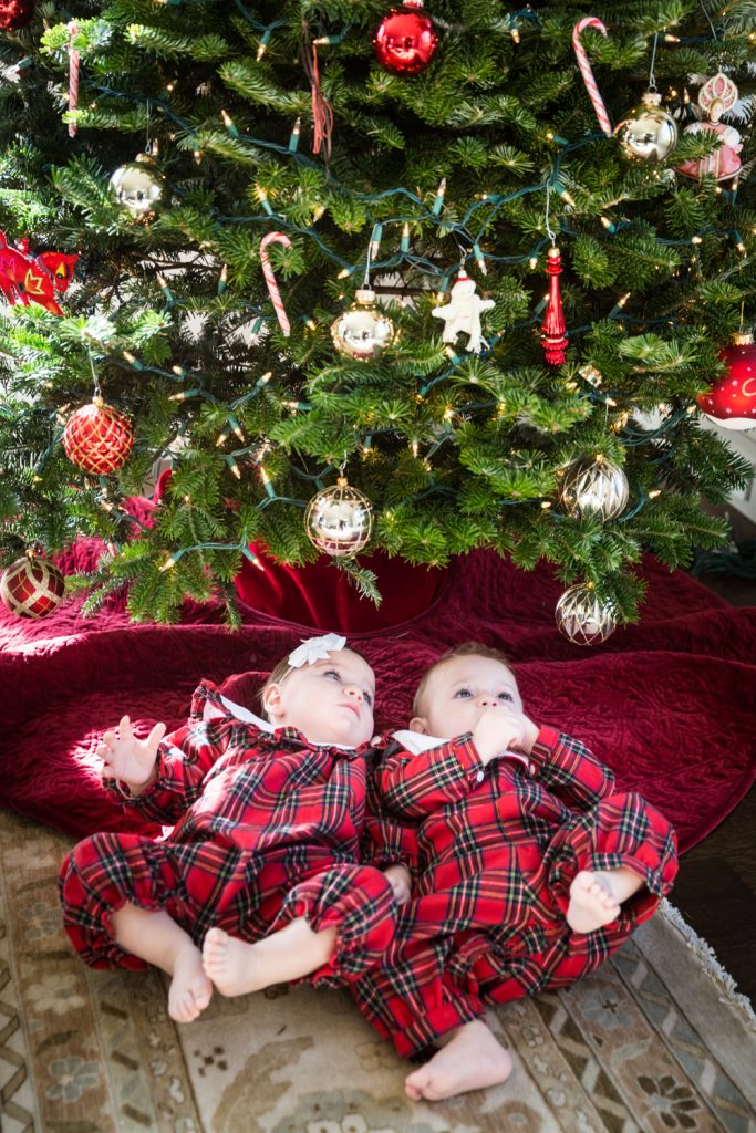 Two babies in plaid pajamas looking up at Christmas tree