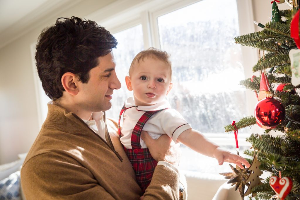 Father holding little boy reaching for Christmas tree