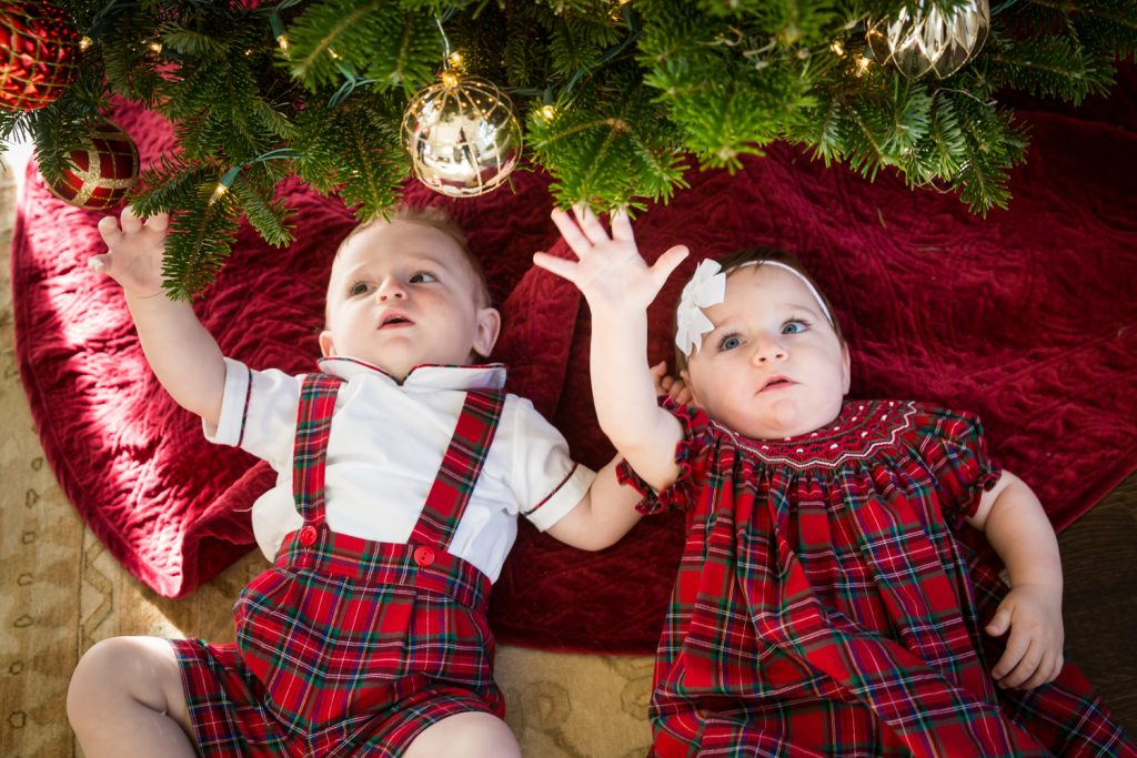 Twin babies reaching up for Christmas tree