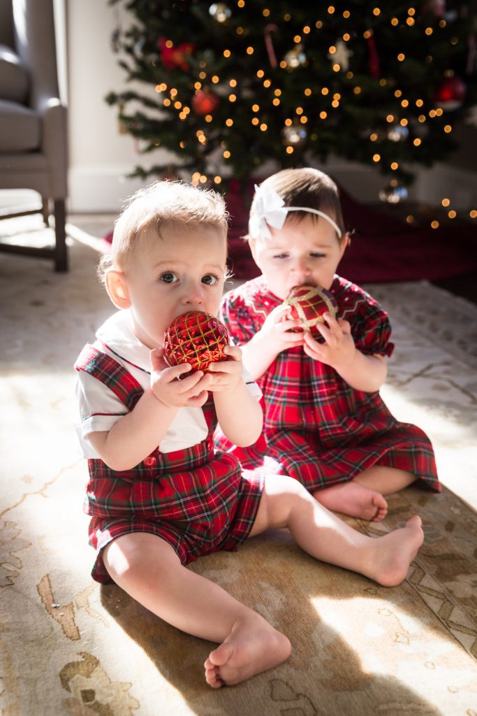 Two babies chewing on Christmas ornaments for an article on holiday family portrait ideas