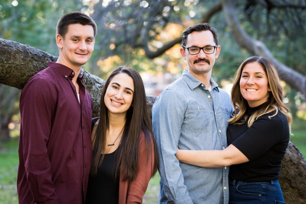 Two couples during a Juniper Valley Park family portrait session