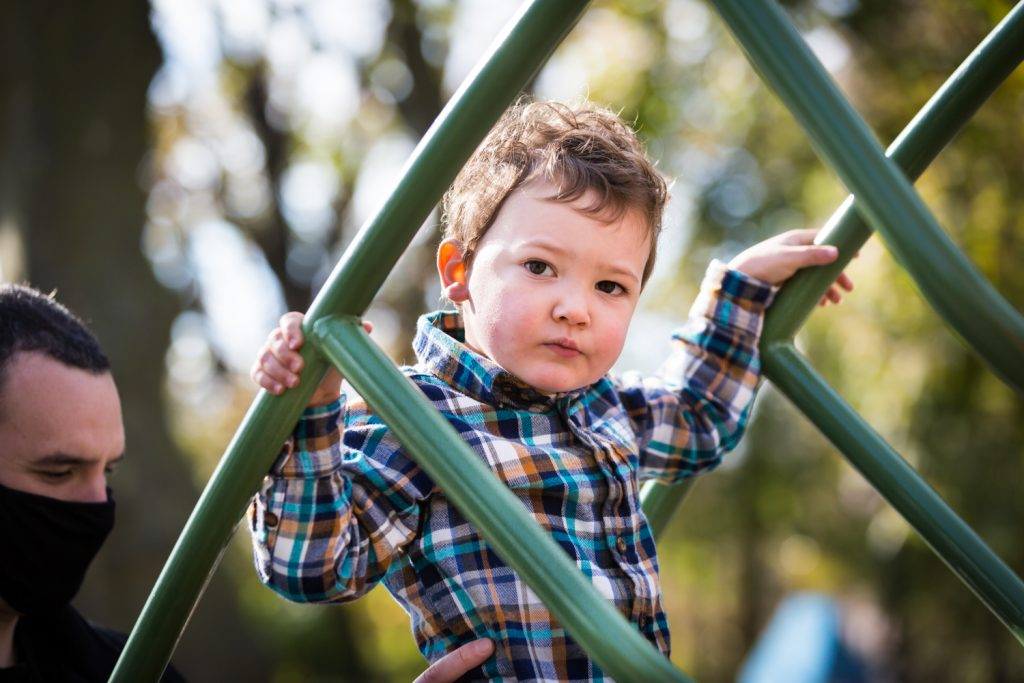 Little boy climbing on jungle gym in Forest Park playground