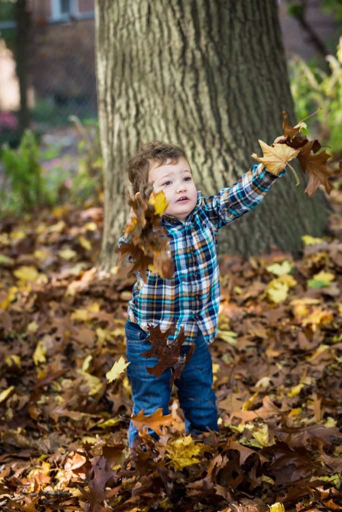 Little boy throwing leaves in Forest Park