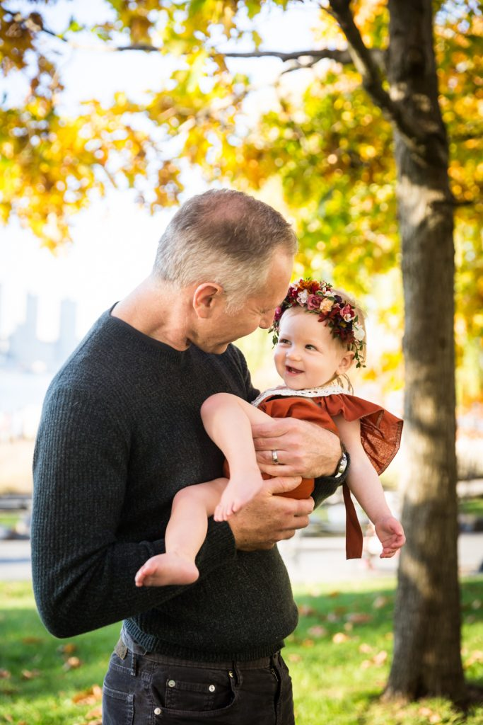 Father holding little girl in Riverside Park
