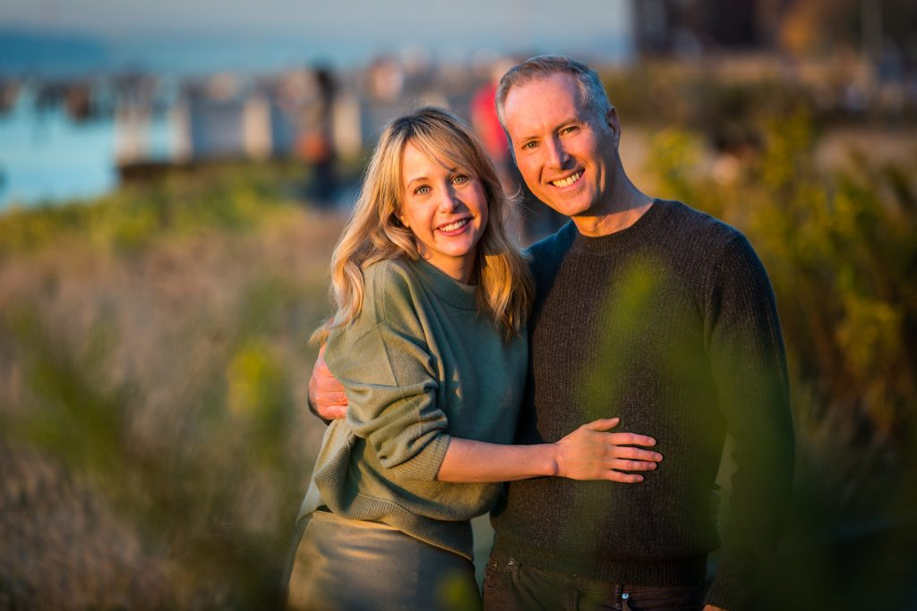 Couple in Riverside Park for an article NYC golden hour portrait tips