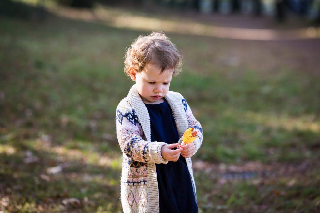 Little girl examining fall leaf in Riverside Park